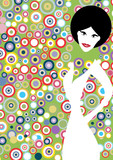 Vertical 1970's fashion retro background with circles for poster. Pop art girl - 229705400