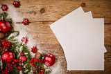 letter to santa. empty craft paper with a pencil on  wooden winter background - 229708601