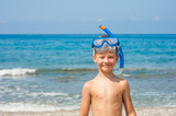 Happy boy in snorkelling mask at beach. Empty space for text - 229714427