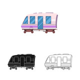 Isolated object of train and station logo. Set of train and ticket stock symbol for web.