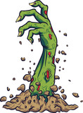 Cartoon zombie hand out of the ground - 229717605