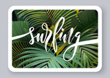 Summer tropical vector design for banner or flyer with dark green palm leaves, exotic flowers and lettering. - 229730471