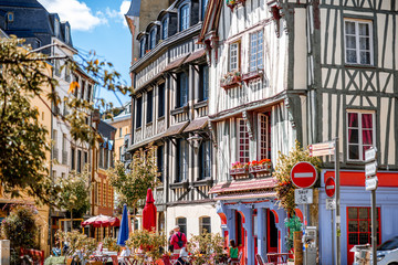 Beautiful colorful half-timbered houses in Rouen city, the capital of Normandy region in France © rh2010