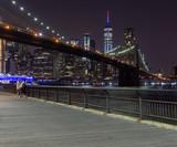 Long time exposure of New York City Brooklyn Bridge  at night viewed from Brooklyn Bridge park