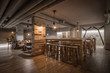 Specious and luxury restaurant interior, table with stools