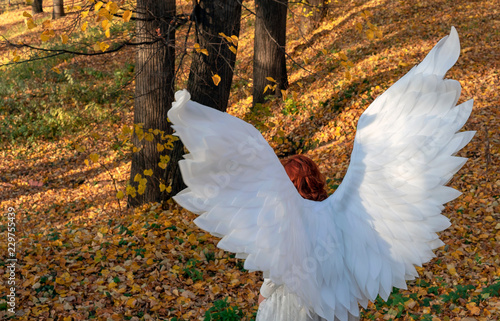 A woman in a white angel costume on a background of the autumn landscape. - 229755439