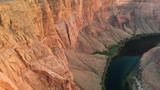 Amazing colors of Horseshoe Bend, aerial view of canyon and river - 229756420