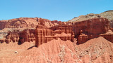 Amazing aerial view of beautiful red canyon and mountains