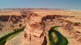 Amazing colors of Horseshoe Bend, aerial view of canyon and river - 229756664