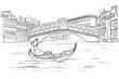 Sketch of Venetian gondola with gondolier, Realto bridge. Black and white