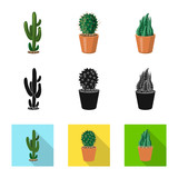 Vector illustration of cactus and pot logo. Set of cactus and cacti stock vector illustration.