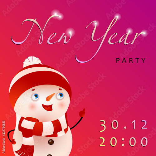 new year party festive pink invitation creative lettering with cartoon snowman on bright pink background