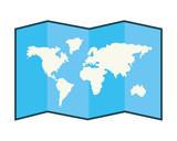 World map folded