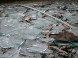 Shards of glass lying on the floor between dirt, destroyed and broken by vandalism - 229781652