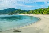 tropical beach and blue sky background