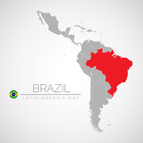 Map of Latin America with the identication of Brazil. Map of Brazil. Political map of America in gray color. America countries. Vector stock.