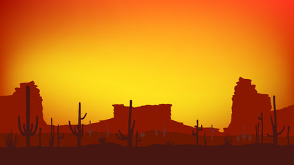 Sunset with Saguaro Cactus. Desert. Vector background in 16:9 aspect ratio. © racerunner
