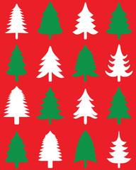 Green and white Christmas trees on a red background, seamless pattern