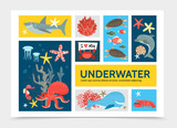 Flat Underwater World Infographic Concept
