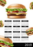 Fast Food Calendar 2019 Year Poster