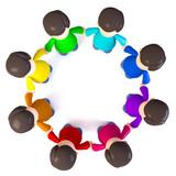 3D Illustration Plastikfiguren im Kreis