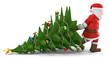Leinwanddruck Bild - 3D Illustration Weihnachtsmann mit Weihnachtsbaum