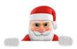 Leinwanddruck Bild - 3D Illustration Weihnachtsmann weiße Fläche unten