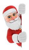 3D Illustration Weihnachtsmann weiße Fläche seitlich - 229794836