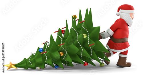 Leinwanddruck Bild 3D Illustration Weihnachtsmann mit Weihnachtsbaum