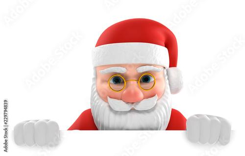 Leinwanddruck Bild 3D Illustration Weihnachtsmann weiße Fläche unten