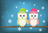 Paper art illustration of Owl couple and snowflake. Merry Christmas, Happy New Year background