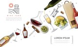 Realistic Wine Elements Composition