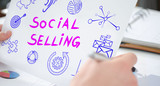 Social selling concept on a paper