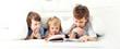Leinwanddruck Bild - happy boy read book