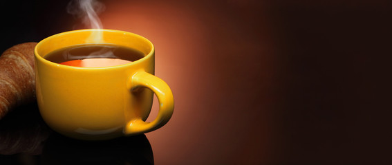 hot tea and croissant © Chepko Danil
