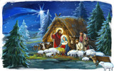 religious illustration of holy family Josef and Mary- traditional scene with sheep and donkey - illustration for children