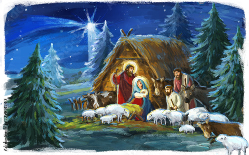 Leinwanddruck Bild religious illustration of holy family Josef and Mary- traditional scene with sheep and donkey - illustration for children