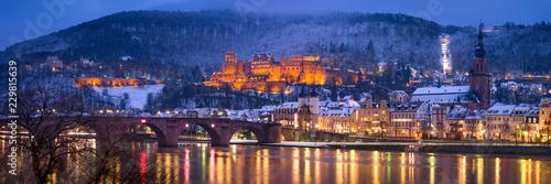 Leinwandbild Motiv Heidelberg Winter Panorama mit Schloss und Alte Brücke