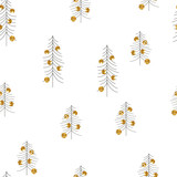 Christmas tree with gold glitter balls seamless pattern. Scandinavian holiday print. Vector hand drawn illustration. - 229816044