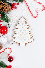 christmas background with gingerbread cookies, gifts, Christmas toys