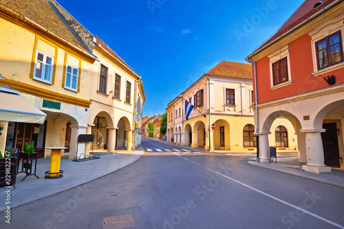 Leinwanddruck Bild Vukovar town square and architecture street view