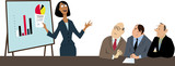Businesswoman making a presentation to a group of skeptical and non-appreciative male co-workers, EPS 8 vector illustration  - 229833085