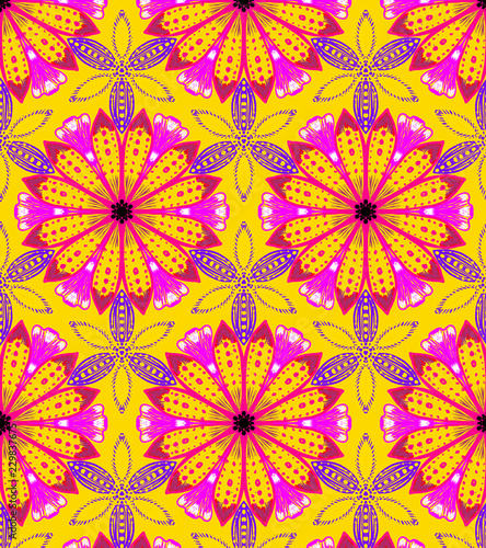 beautiful hand-drawn floral pattern tile with vivid colors for textiles, fabric, cards, templates, wallpapers, backdrops and other creative surface designs. the tile is seamless - 229837675