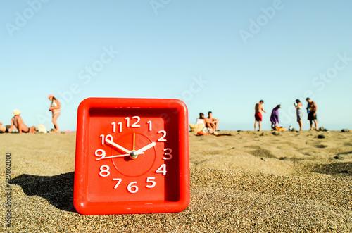 Clock on the Sand Beach - 229862808