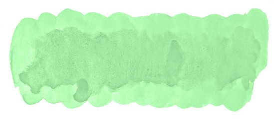 Green pastel watercolor hand-drawn isolated wash stain on white background for text, design. Abstract texture made by brush for wallpaper, label. © ss404045