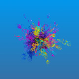 3d render background with abstract particles. Turbulences and curled particles. Complex simulation. Multicolored...