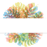 Watercolor tropical palm leaf frame - 229875654