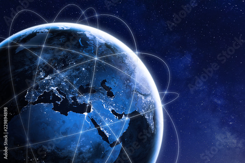 Global connectivity concept with worldwide communication network connection lines around planet Earth viewed from space, satellite orbit, city lights in Europe, some elements from NASA - 229894898