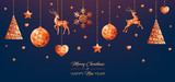 copper low poly christmas background - 229898213