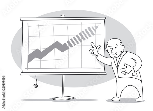 Old economist presens growth forecasts chart on whiteboard. Cartoon vector illustration © mammothis
